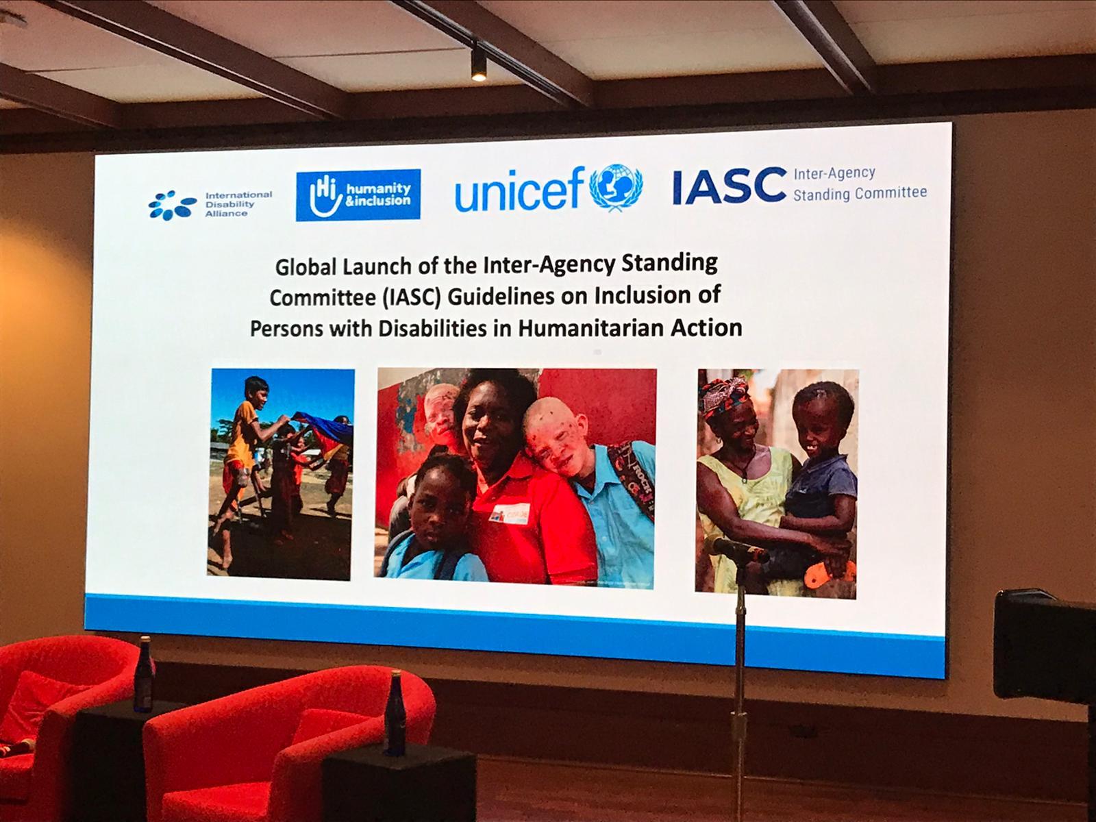 Globaler Launch der IASC-Leitlinien in New York (November, 2019). Veranstaltungsraum mit dem Backdrop der Veranstaltung.