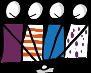 Vier Personen stehen nebeneinander und halten ihre Hände in die Mitte.